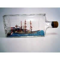 1113 - Ship Anchored in Harbor in a Bottle