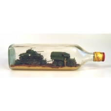 440 - Sherman Tank, Tractor, Trailer in bottle