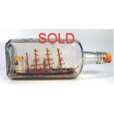 444 - 4 Mast Bark Ship Diorama in bottle - SOLD