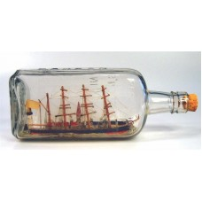 444 - 4 Mast Bark Ship Diorama in bottle