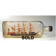 445 - 4 Masted Bark Ship Diorama in bottle - SOLD