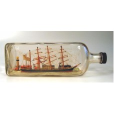 445 - 4 Masted Bark Ship Diorama in bottle