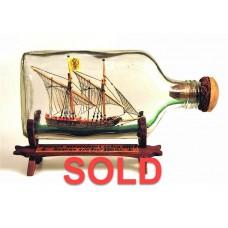 504 - 18th Century Russian Gunboat Ship in Bottle - SOLD