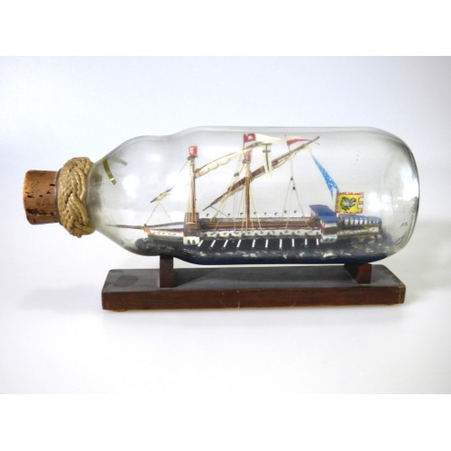 524 - Galley Anno 1480 Ship in a Bottle