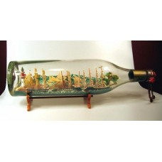 540 - Folk Art Ship in Bottle Diorama of Sailing Regatta