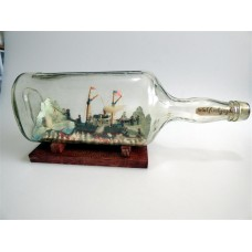 544 - 1900s Folk Art Whaling Ship in a Bottle Diorama