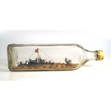 696 - World War II Battle Scene Ship in bottle