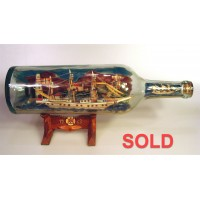 796 - Ship Annelise Harbor Diorama in a Bottle - SOLD